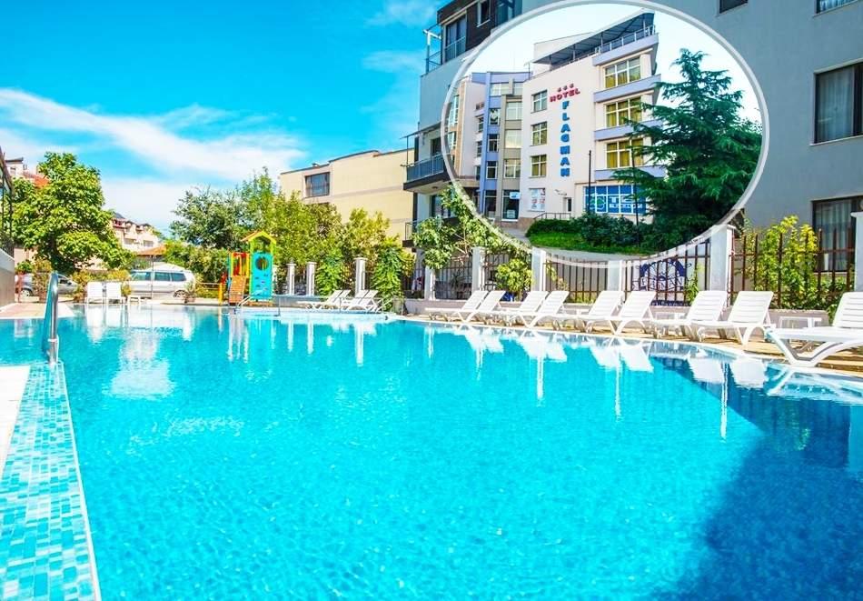 Нощувка на човек със закуска и вечеря + басейн в хотел Флагман***, Созопол, на 70м. от плаж Хармани