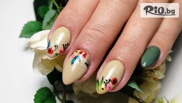 Дамски маникюр със заздравител, Маникюр с гел лак с каучукова база + 2 декорации, по избор, от M-Nails