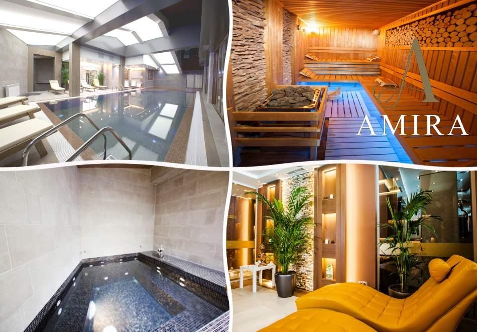 Нощувка на човек със закуска + басейн и релакс зона от хотел Амира****, Банско. Дете до 13г. безплатно!