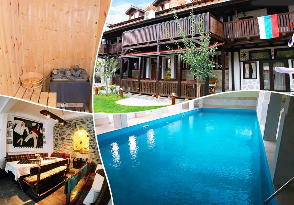 Нощувка на човек със закуска и вечеря + вътрешен басейн с минерална вода, джакузи и сауна в Алексова къща, Огняново