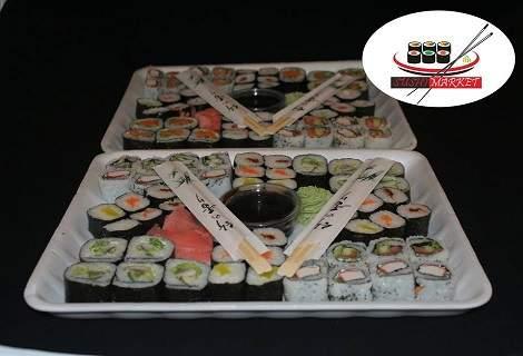 Вкусно хапване от Sushi Market! Включва суши хапки с пушена сьомга, филаделфия и херинга на специална цена!