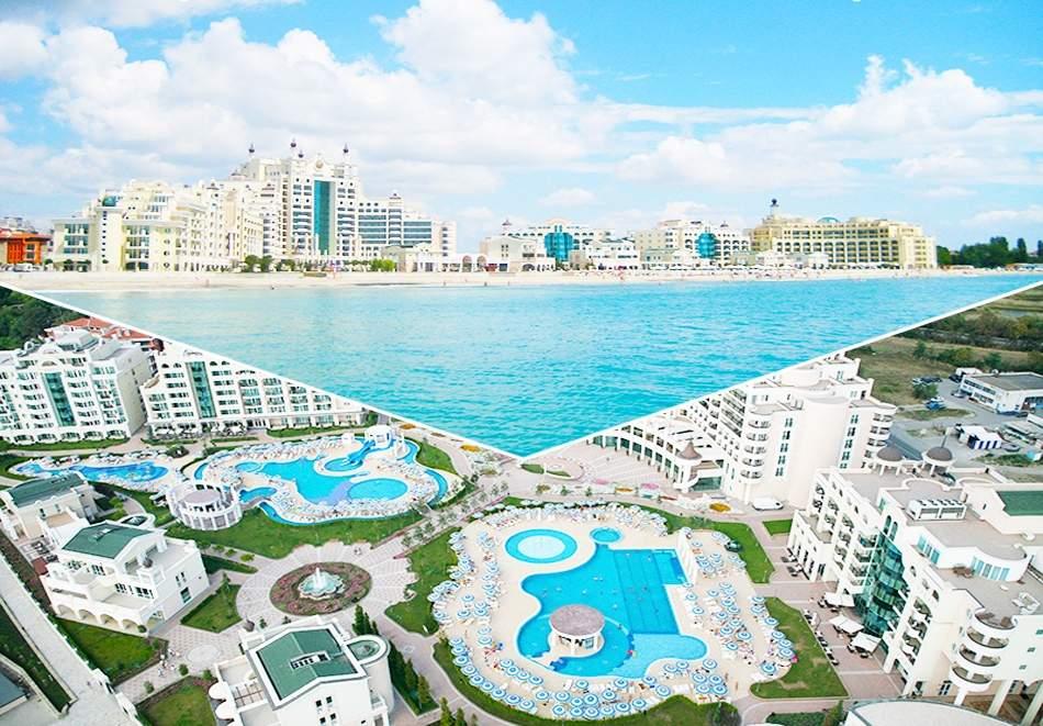 Нощувка на база All inclusive за двама, трима или четирима + басейни, частен плаж и анимация на 1-ва линия в Сънсет Ризорт*****, Поморие