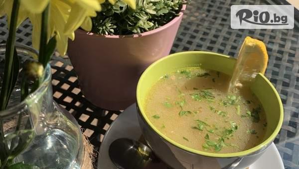 Вкусен обяд, включващ Супа (300 г) и Основно ястие (350 г) по избор, от Къщичка Дахаус