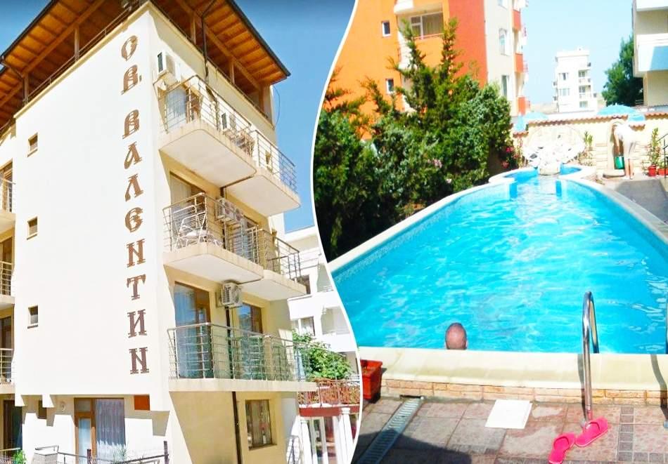 Нощувка за 2-ма или 3-ма + басейн в хотел Свети Валентин, на 150м. от плажа в Приморско