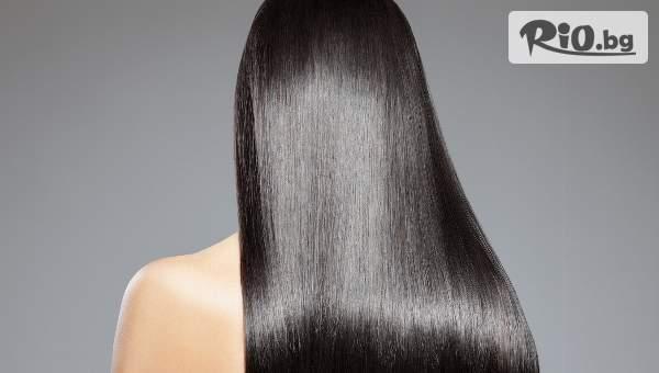 Кератинова терапия за коса, подстригване на връхчета и сешоар, от Салон за красота Angels