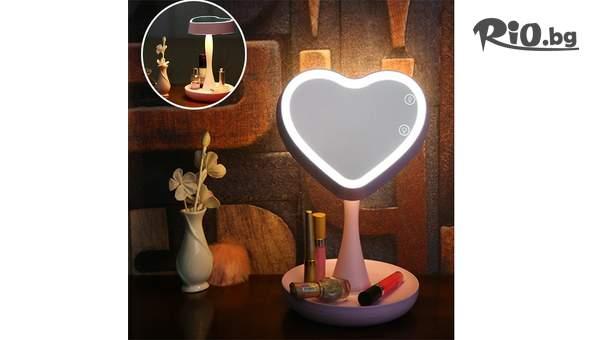 Настолно LED огледало за гримиране сърце, от Topgoods.bg