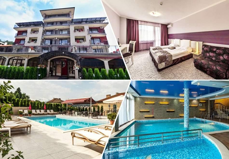 Нощувка на човек със закуска и вечеря + открит и закрит минерален басейн и релакс зона в хотел Енира****, Велинград