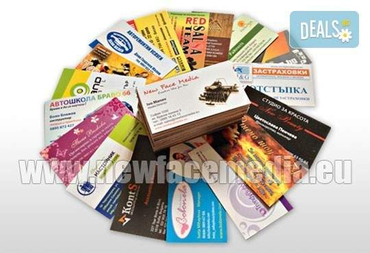 Направете добро впечатление с New Face Media! Включва луксозни двустранни визитки!