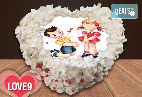 Торта сърце с любима снимка 8, 12 или 16 парчета от Сладкарница Джорджо Джани