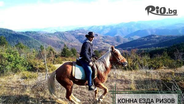 Едночасова разходка с коне за 4 човека по еко пътека Каньон на Водопадите с включено обучение и фотосесия, от Конна езда Ризов