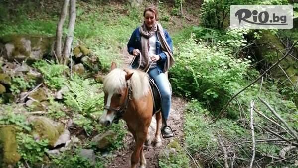 Едночасова разходка с кон по еко пътека Каньон на Водопадите с включено обучение и фотосесия, от Конна езда Ризов