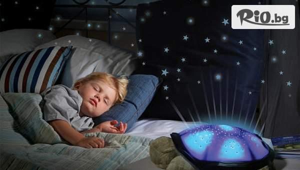 """Музикална детска нощна лампа """"Костенурка"""", проектираща 7 различни съзвездия в 4 цвята и 4 приятни мелодии, от Prodavalnikbg.com"""