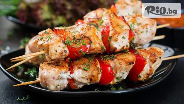 Порция пуешки шишчета + ориз басмати, от Ресторант за здравословни храни-Arnold Food