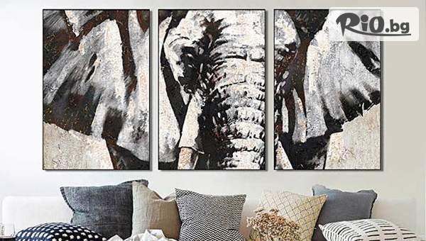 Картина пано за стена от три части - слон или цветя, по избор, от Topgoods.bg