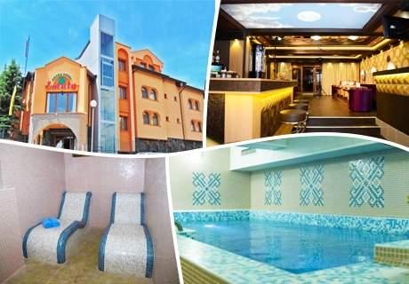 Нощувка на човек със закуска, обяд и вечеря + минерален басейн и релакс зона в Семеен хотел Емали Грийн, Сапарева Баня