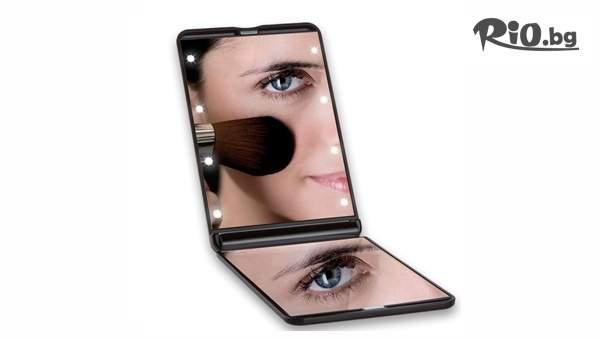 Компактно огледало за гримиране с LED осветление, от Topgoods.bg